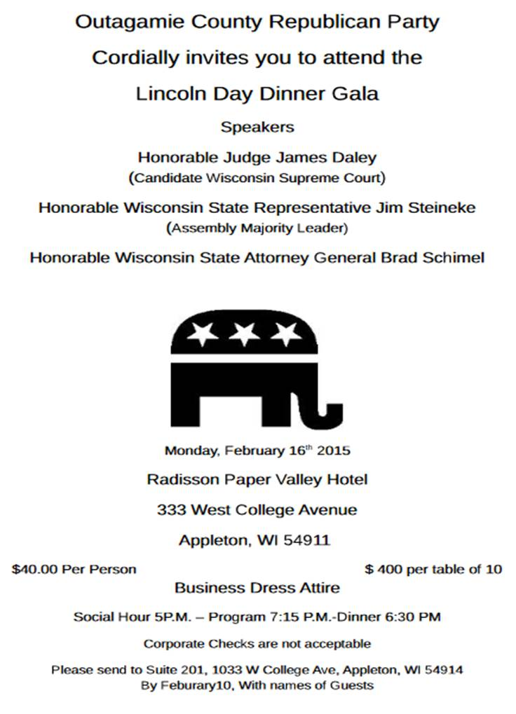 Lincoln Day Dinner Gala Reminder